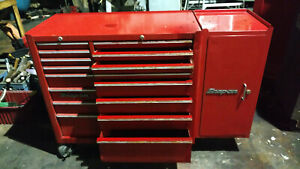 Snap on 16 Drawer Tool Box Roll Cab Red With End Add On Box