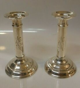 Vintage R Wallace Sons Weighted Sterling Silver Pair Of Candle Holders