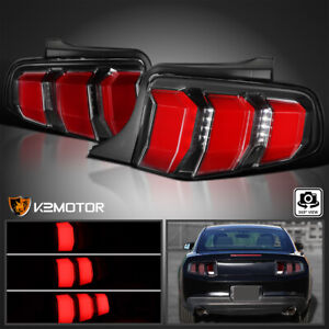 For 2010 2012 Ford Mustang Red Led Sequential Signal Led Tail Lights Black