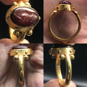Beautiful Roman Gold Ring With Intaglio High Carat Solid Gold Ring
