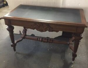 American Victorian Walnut Carved Library Table