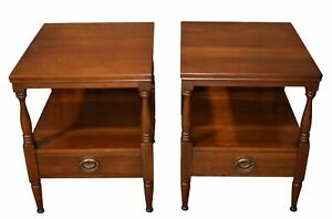 Pair Of Vintage Statton Traditional Style Solid Cherry Side Tables W Drawer