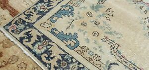 Rare Antique Cr1900 1939s Muted Natural Dye Wool Pile Oushak Area Rug 4 X6 8