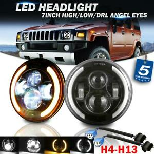 2x 7 200w Led Headlight Angel Eye Drl Dot Lamp For Hummer Land rover Am general