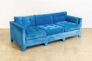 Vintage Mid Century Sofa Blue Velvet Upholstered Three Seat Sofa Couch 1970s Mcm