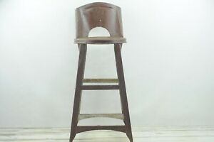 Vintage Kitchen Stool Brown Vintage Rolled Back Metal Kitchen Stool
