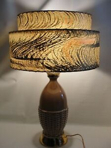 Vintage Mid Century Modern Lt Brown Gold Table Lamp 2 Tier Fiberglass Shade