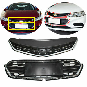 Front Bumper Upper Grill Middle Lower Grille For Chevrolet Cruze 2016 2018 17