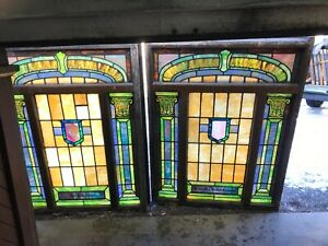 Marcan2 Available Price Each Antique Stained Glass Landing Window 64 X 50