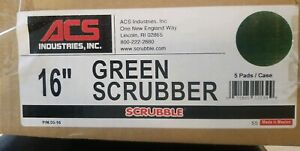 Acs 16 Green Scrubbing Floor Buffer Pads Box Of 5 New Old Stock free Shipping
