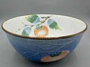Beautiful Chinese Blue White Porcelain Bowl W Peach Decorations 8 X 4