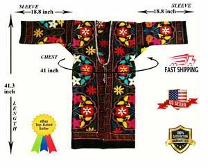 Multicolor Wool Uzbek Vintage Embroidery Suzani Robe Dress Coat Sale Was 149 00