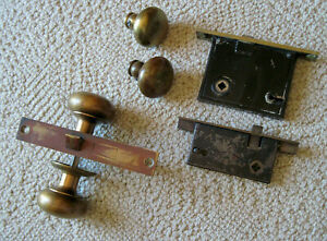 2 Vtg Antique Easton Lock Works Lockset Deadbolt 4 Bronze Brass Knobs Sm Lock