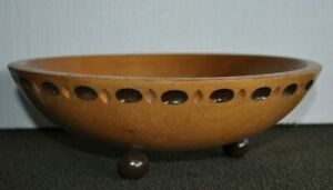 Vtg Munising Signed Carved Footed Wood Mixing Serving Dough Bowl 11 1 2 X 4