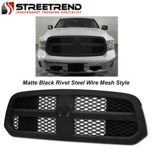 For 2013 2018 Dodge Ram 1500 Matte Black Honeycomb Mesh Front Hood Bumper Grille