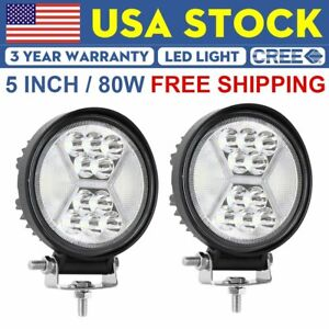 2x 5 144w Led Round Driving Lights Pods Spot Flood 6000k Off Road Pickup 4wd 4