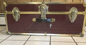 Vintage Antique Metal Travel Trunk Suitcase Maroon Color