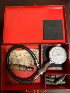 Snap On Tools Vintage Compression Gauge Tester Kit With Original Red Metal Box