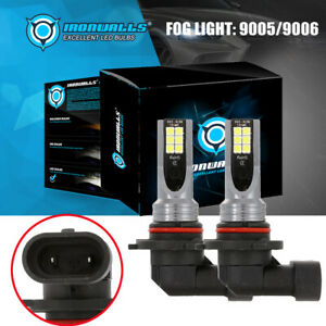 Ironwalls 9005 9006 H10 Led Fog Light Bulbs High Power 100w 10000lm 6000k White