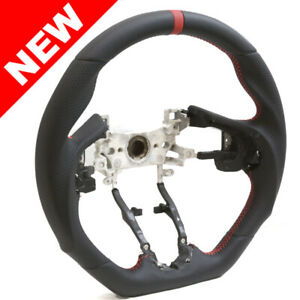 Handkraftd 15 19 Honda Fit Black Leather Steering Wheel W Red Centering Stripe