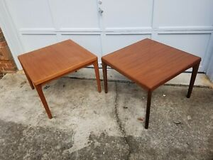 Pair Of Mcm Danish Teak Tables By Vejle Stole Mobelfabrik 27 X 27 X 20