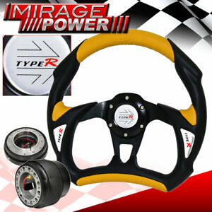 For 94 01 Integra Black Yellow Steering Wheel Adapter Thin Quick Hub Type R