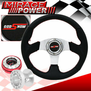 For 92 95 Civic 320mm 6 Bolt Black Pvc Steering Wheel Red Quick Release Godsnow