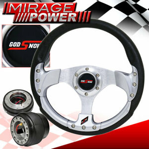 Black Quick Release 320mm Silver Fusion Style Steering Wheel For 88 91 Crx