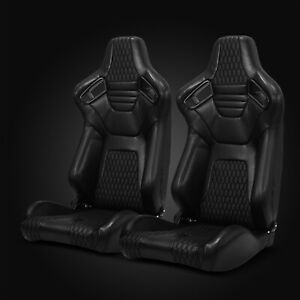 Universal Jdm Black Pvc Leather Stitching Racing Bucket Seats Left Right