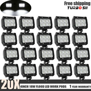 20x 4inch 18w Led Work Lights Pods Flood Offroad Lamp For Atv Jeep Ute 12v