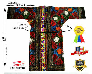 Embroidery Uzbek Vintage Multicolor Suzani Chapan Robe Dress Sale Was 175 00