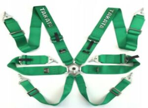 Racing Seat Belts Sport M 5117 6 points 3 quot Green Takata Replica Harness