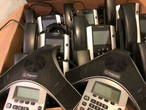 Office Phone System Polycom Voip 9 Desk Phones 2 Conference Phones