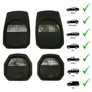 Car 3pcs Floor Mats For All Weather Rubber Heavy Duty Protection Auto Suv Van