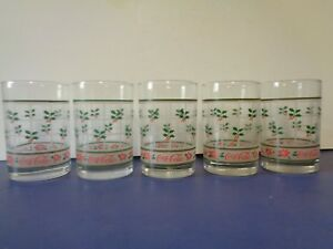 Vintage Coca Cola Holly Berry Poinsettia Old Fashioned Glasses Christmas 5 Set