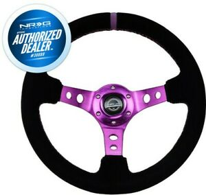New Nrg Deep Dish Steering Wheel 350mm Suede Purple Stitch And Mark Rst 006s Pp