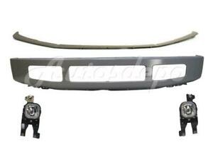 For 2008 2010 F250 F350 King Ranch Front Bumper Silver Face Bar Pad Fog Light 4p