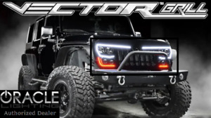 Led Grille W Headlights Turn Signal For 2007 17 Jeep Wrangler Jk Flat Black