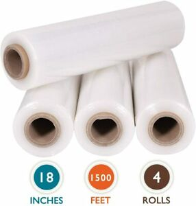 18 Stretch Film Wrap 2000 Ft Up 600 Heavy Duty Price For 4 Rolls