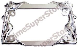 Nude Naked Ladies Women Twin Girls Chrome Metal Motorcycle License Plate Frame