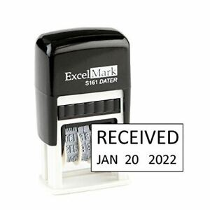 New Excelmark Received Self Inking Date Stamp S161 Compact Size Black Ink