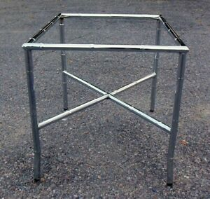 Mid Century Modern Chrome Faux Bamboo Side Drink Table Hollywood Regency