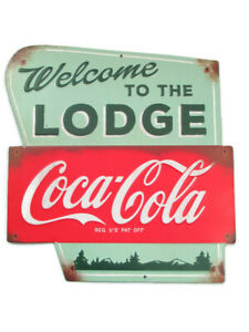 Coca-Cola Welcome to the Lodge Tin Sign Vintage Look Distressed