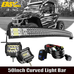 50 Curved Led Light Bar Triple Row 4 Pods For Polaris General Ranger Roof Lamp