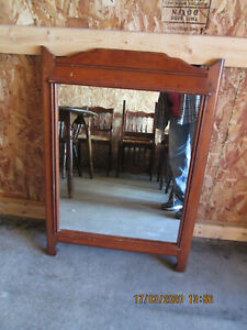 Vintage Antique Art Deco Solid Wood Maple Mirror Wall Hanging