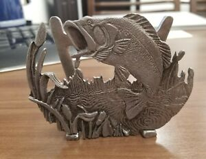 metal Large Mouth Bass With Cat Tails Business Card Holder