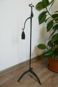 Antique Early 19th C Rush Light Complete Wrought Iron Rushlight Holder