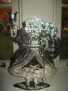 Santa Claus Candle Holder Silver Plated