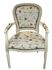 Vintage French Provincial Carved Accent Chair W Floral Fabric Plaid Back