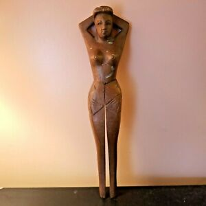 Hand Carved Wooden Wood Nude Lady Women Nut Cracker 13 Vintage Mid Century